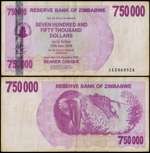 Zimbabwe Currency Bank Note 750000 Dollars Seven Hundred And
